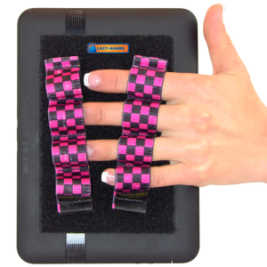 4 Loop Tablet or Reader Grips (x2) - Black and Pink Checkers
