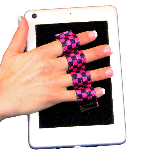 4 Loop Tablet and Reader Grip - Black and Pink Checkers