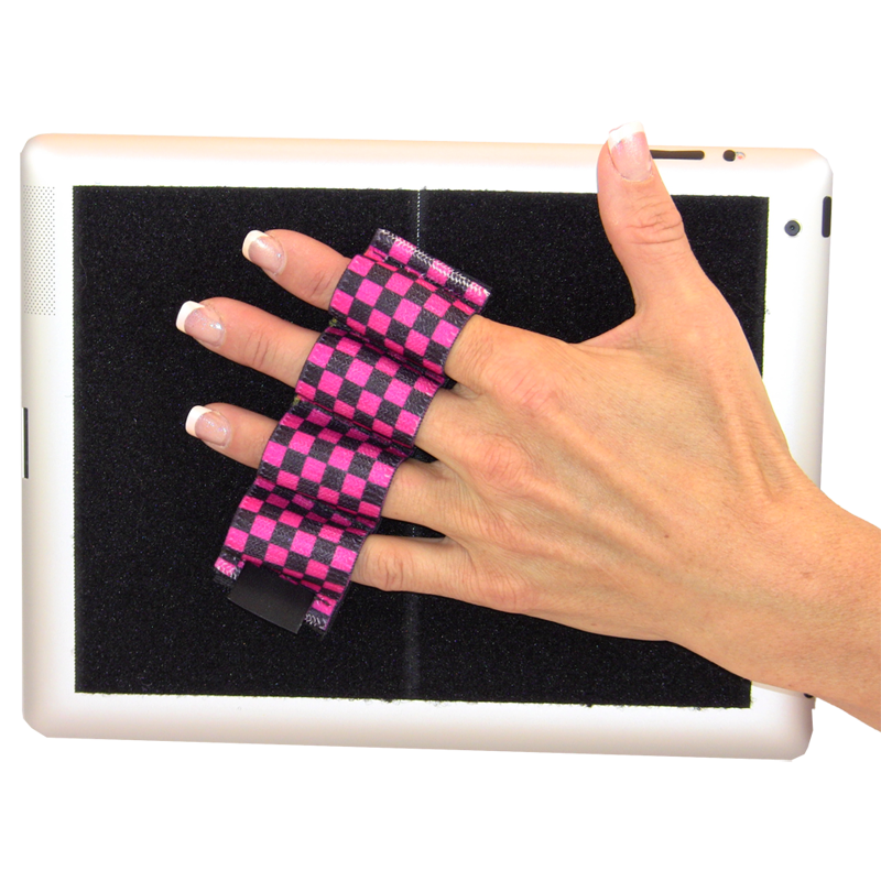 Heavy Duty 4-Loop Grip for iPad or Large Tablet - Pink and Black Checkers