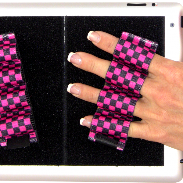 Heavy Duty 4-Loop Grips for iPad or Large Tablet (x2) - Black & Pink Checkers