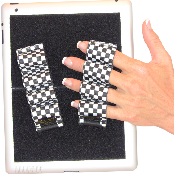 Heavy Duty 4-Loop Grips for iPad or Large Tablet (x2) - Black & White Checkers