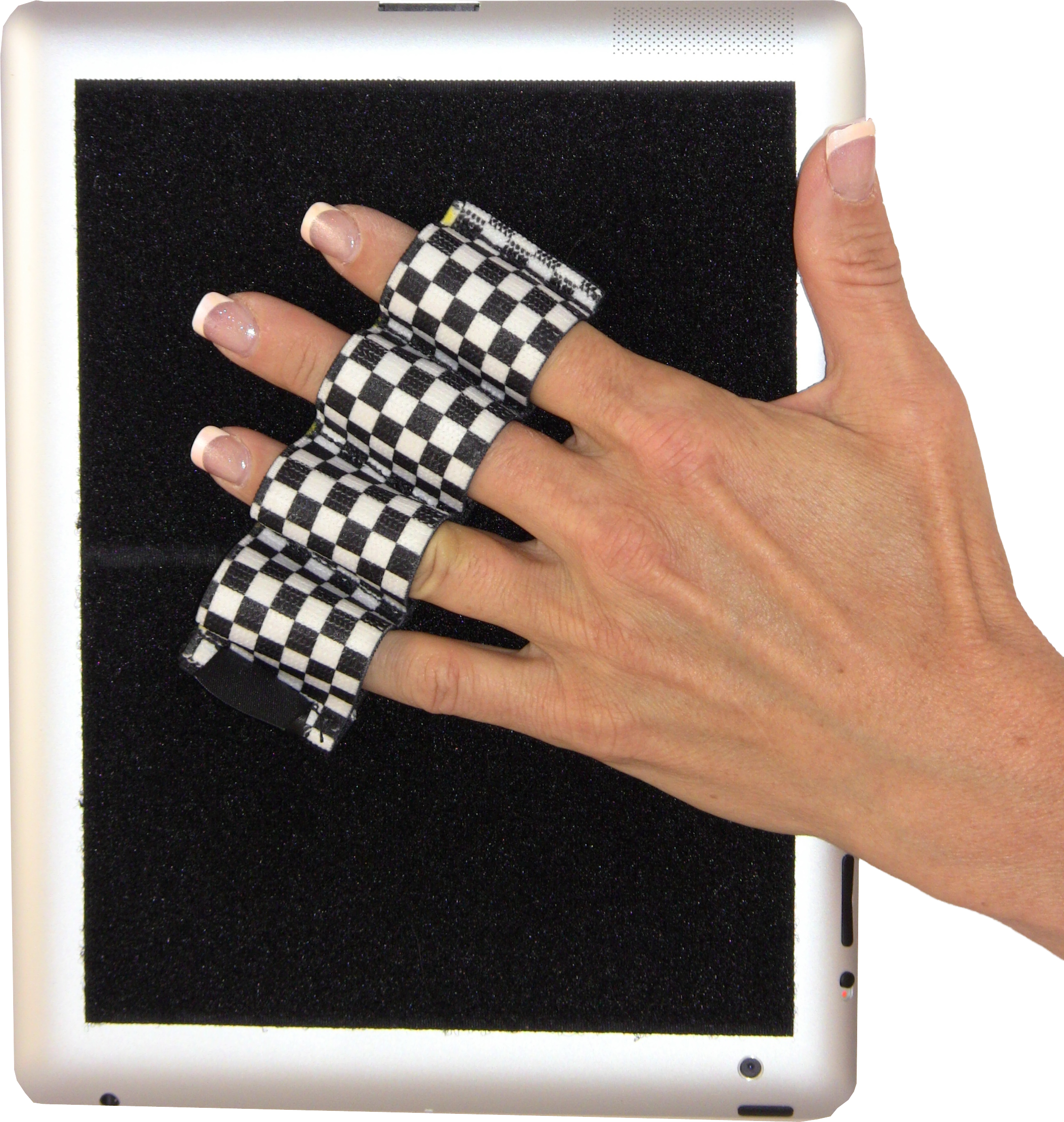 Heavy Duty 4-Loop Grip for iPad or Large Tablet (x1) - Black & White Checkers