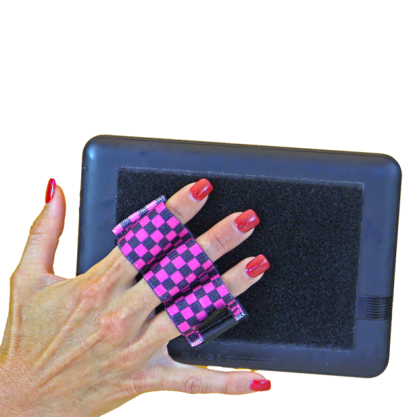 Heavy Duty 3-Loop Tablet Grip - Pink and Black Checkers