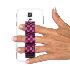 3-Loop Phone Grip - Black & Pink Checkers