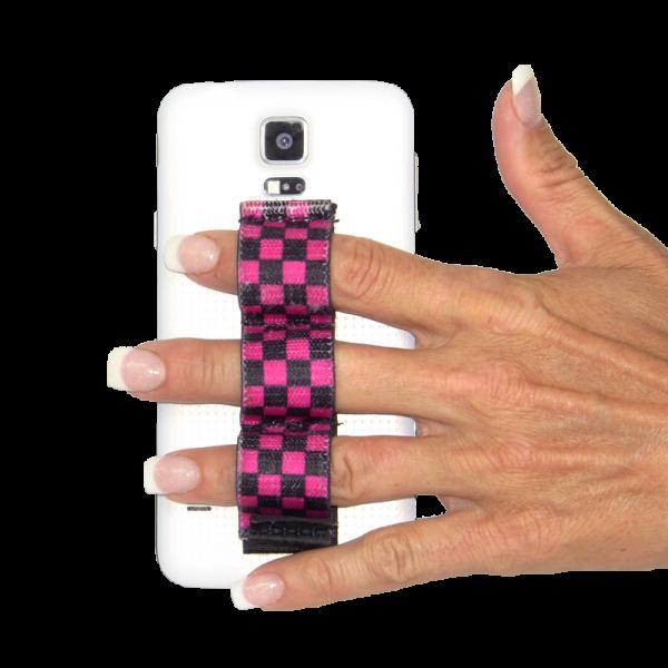 3-Loop Phone Grip - Black & Pink Checkers