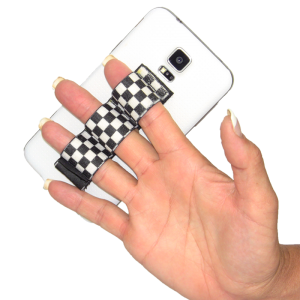 3-Loop Phone Grip - Black & White Checkers