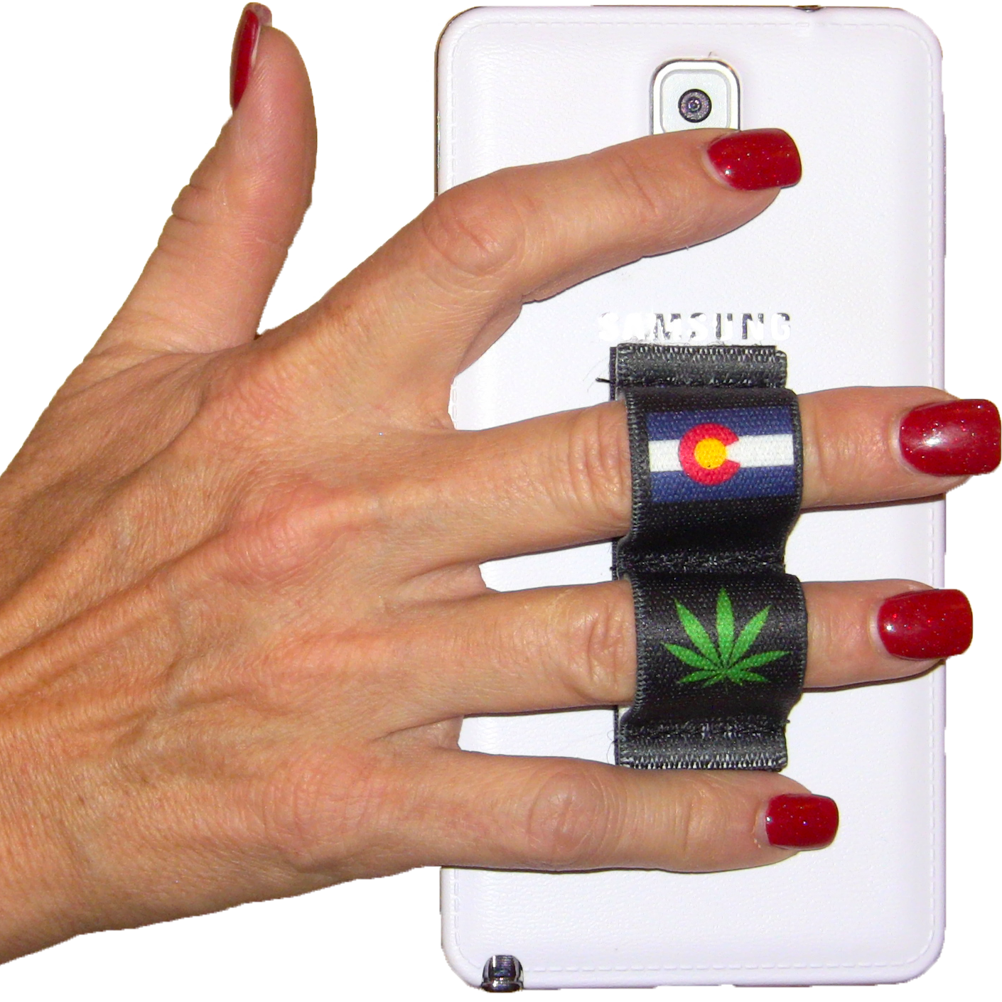 2-Loop Phone Grip - Pot Leaf Colorado Black