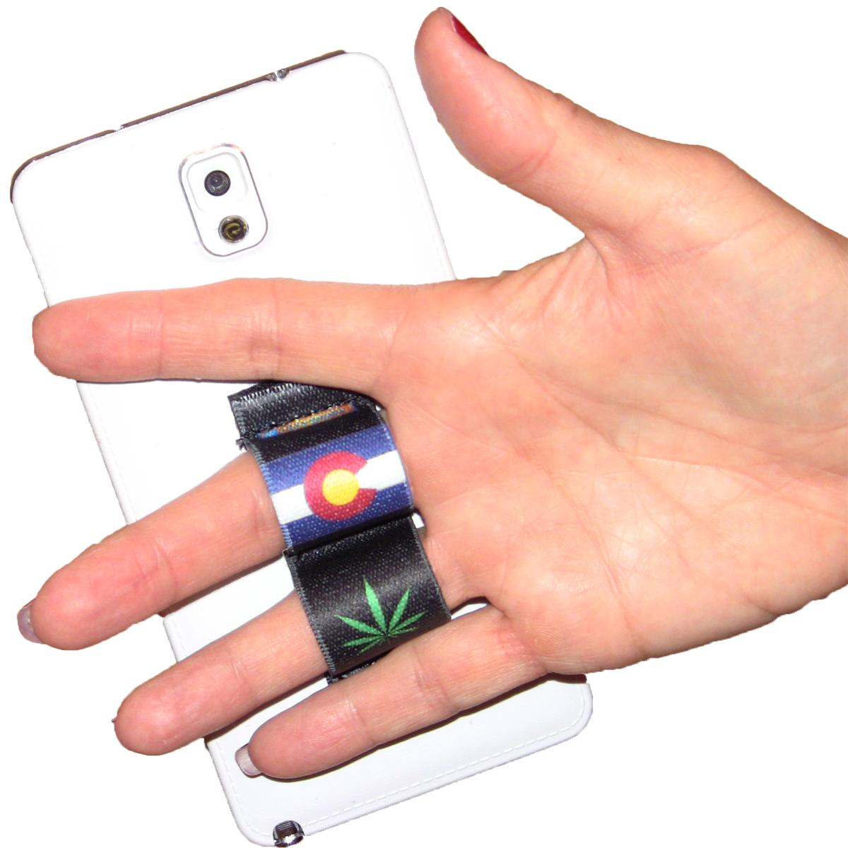 2-Loop Phone Grip - Pot Leaf Colorado Black