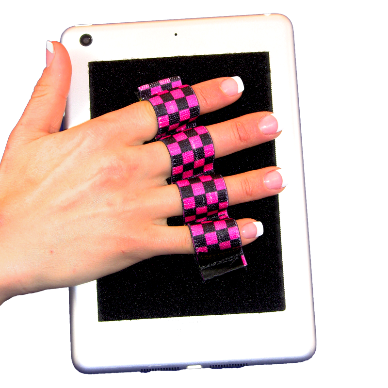 4-Loop Grip (x1) for Kindles, Nooks, Other eReaders and Small Tablets - Black & Pink Checkers