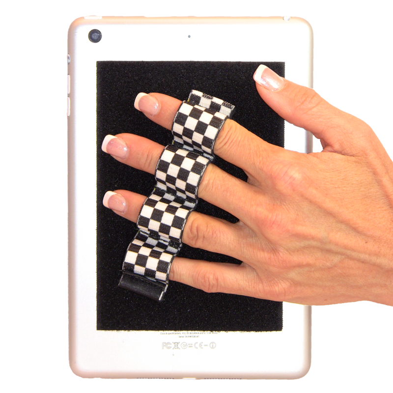 4-Loop Grip (x1) for Kindles, Nooks, Other eReaders and Small Tablets - Black & White Checkers