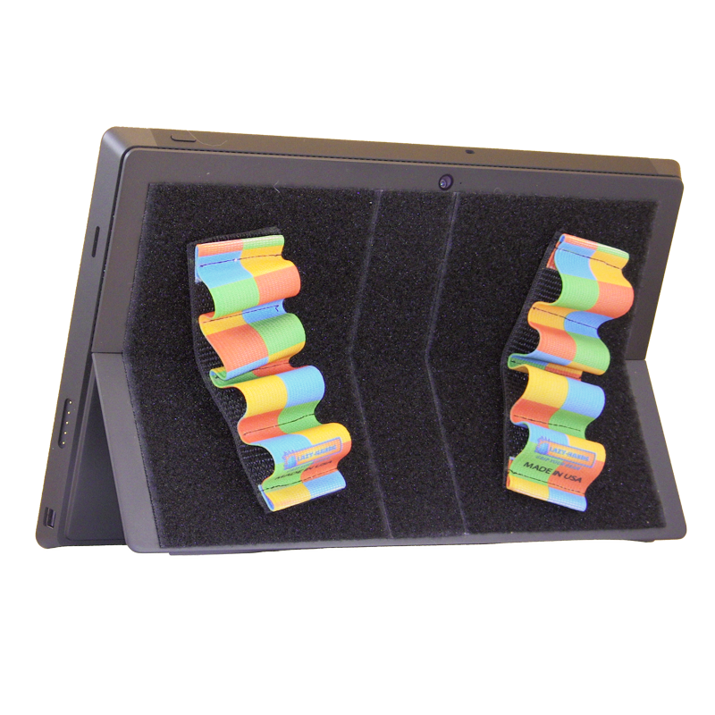 Heavy-Duty 4-Loop Grips (x2 Grips) for Tablets & Surface - Rainbow Checkers