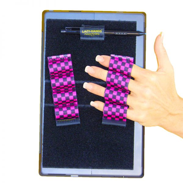 Heavy-Duty 4-Loop Grips (x2 Grips) + Stylus Grip for Tablets & Surface - Black & Pink Checkers