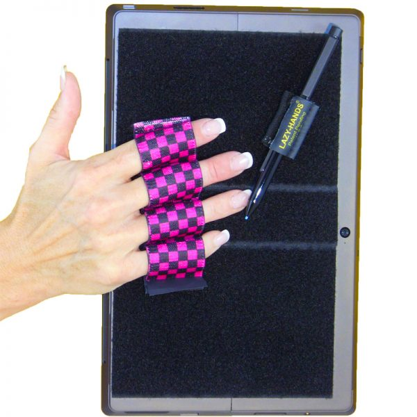 Heavy-Duty 4-Loop Grip (x1 Grip) + Stylus Grip for Tablets & Surface - Black & Pink Checkers