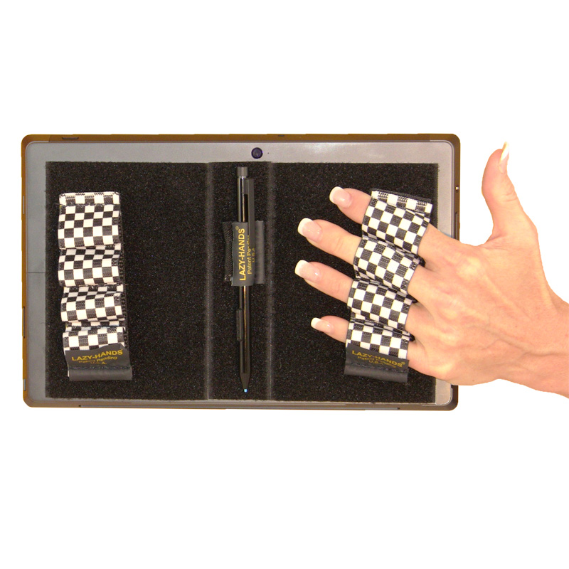 Heavy-Duty 4-Loop Grips (x2 Grips) + Stylus Grip for Tablets & Surface - Black & White Checkers