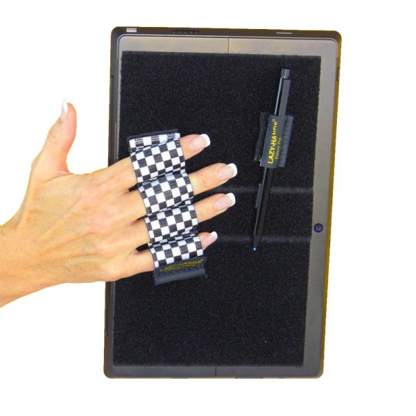 Heavy-Duty 4-Loop Grip (x1 Grips) + Stylus Grip for Tablets & Surface - Black & White Checkers