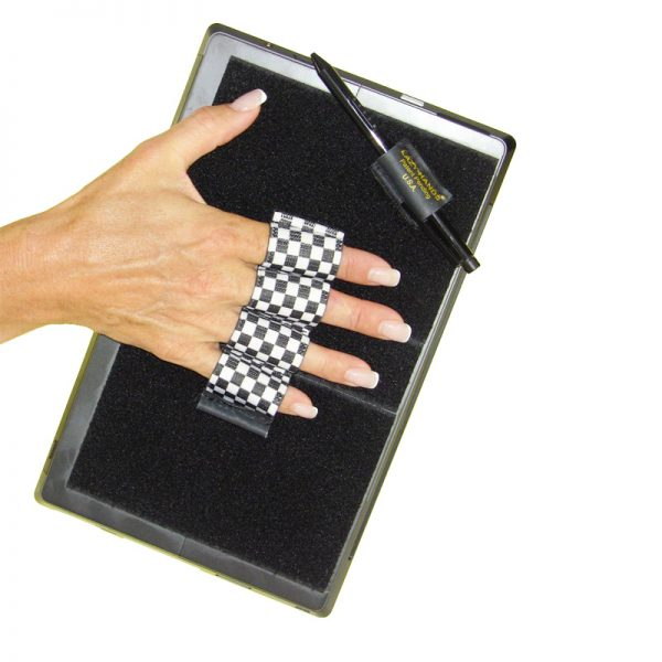 Heavy-Duty 4-Loop Grip (x1 Grip) + Stylus Grip for Tablets & Surface - Black & White Checkers