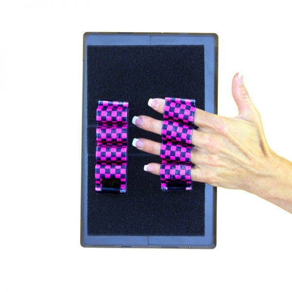 Heavy-Duty 4-Loop Grips (x2 Grips) for Tablets & Surface - Black & Pink Checkers