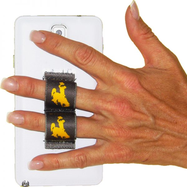 2-Loop Phone Grip - Wyoming Cowboy Gold with Brown Background
