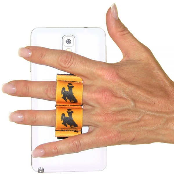 2-Loop Phone Grip - Wyoming Cowboy Brown with Gold Background
