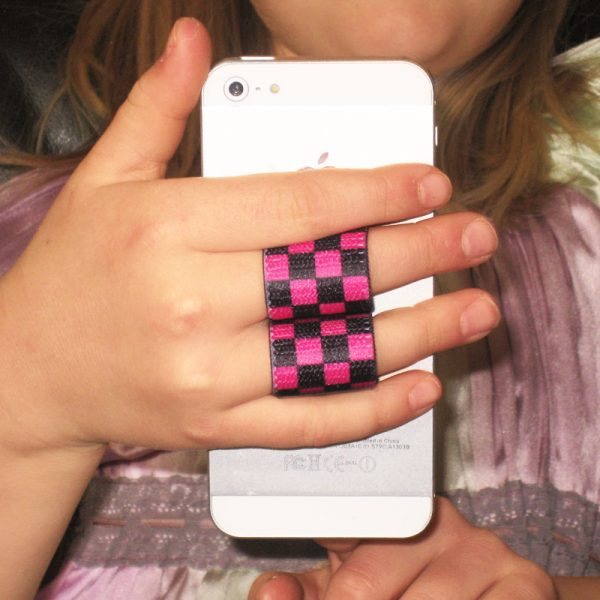 2-Loop Phone Grip - Black & Pink Checkers