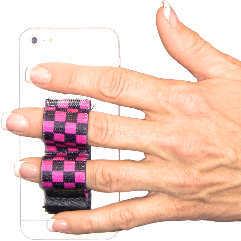 2-Loop Phone Grip - Black & Pink Checkers - LAZY-HANDS.comLAZY-HANDS.com