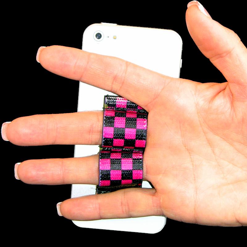 2-Loop Phone Grip - Black & Pink Checkers