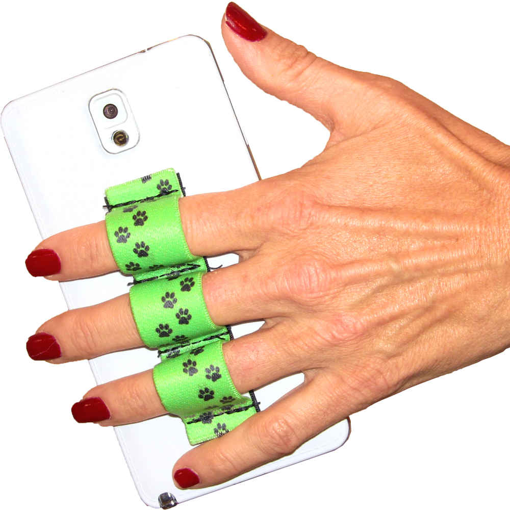 Paw Prints Green 3-loop Phone Grip PG3