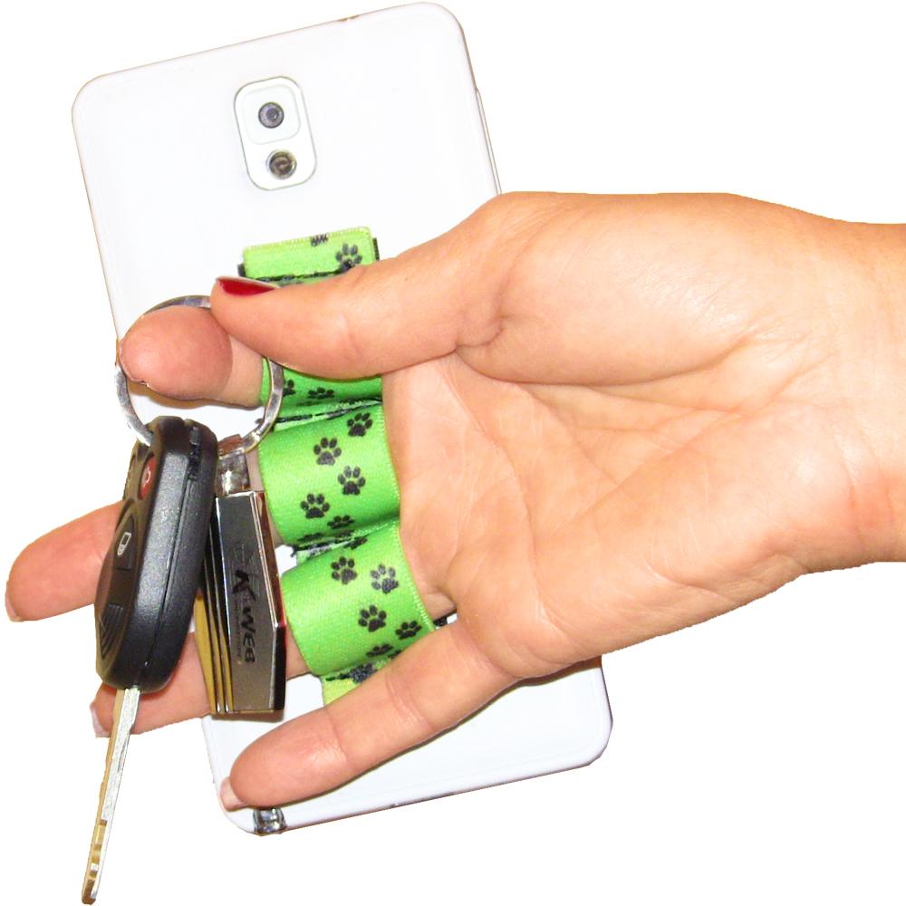 Paw Prints Green 3-loop Phone Grip PG3