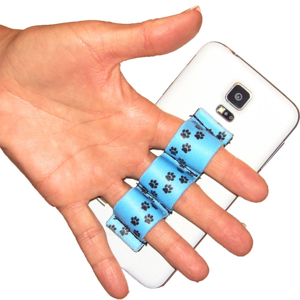 Paw Prints Lt Blue 3-loop Phone Grip PG3