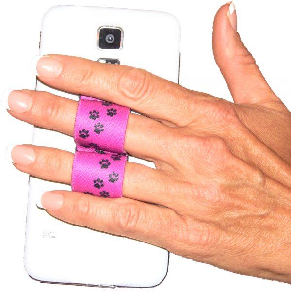 2-Loop Phone Grip PG2 Paw Prints Pink
