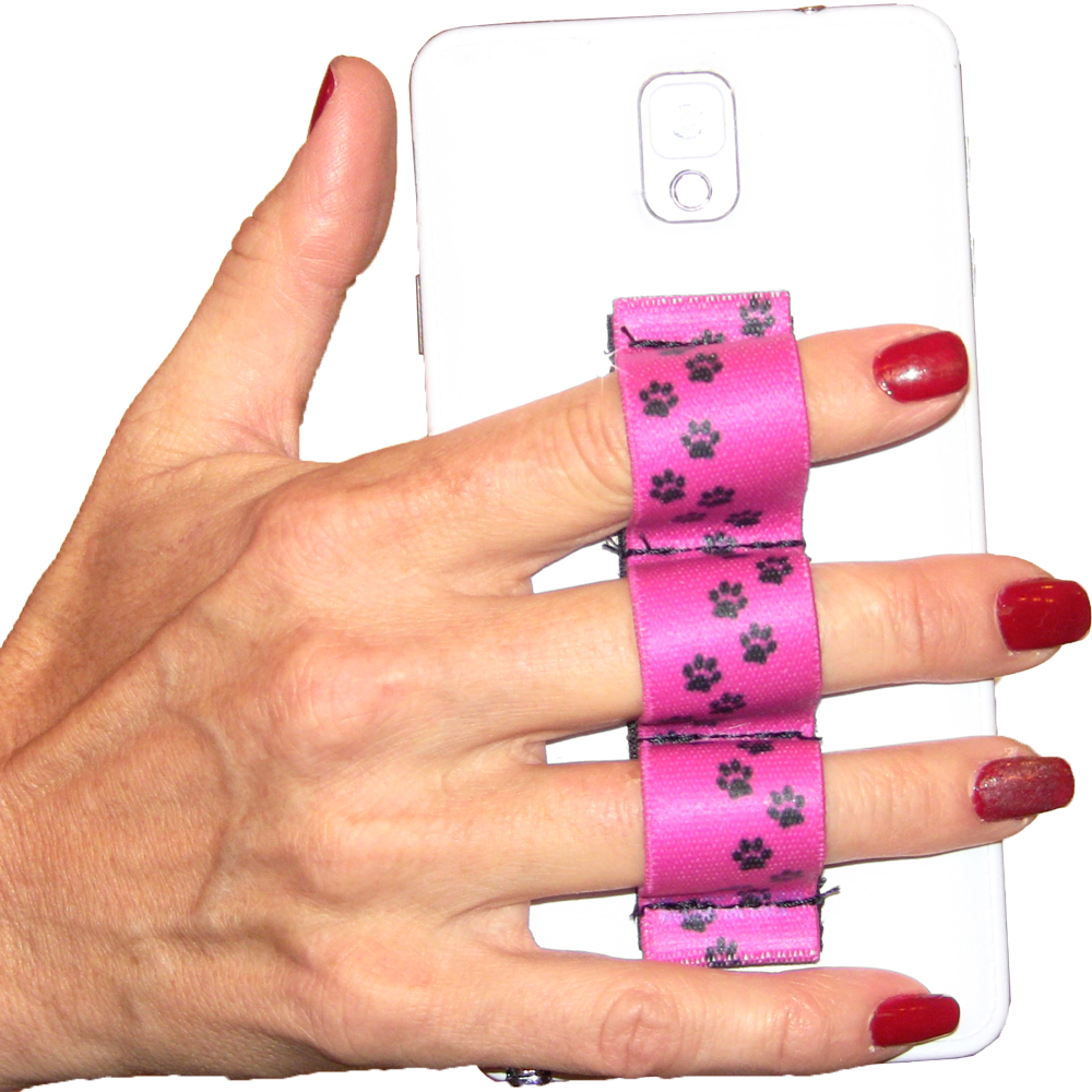 Paw Prints Pink 3-loop Phone Grip PG3