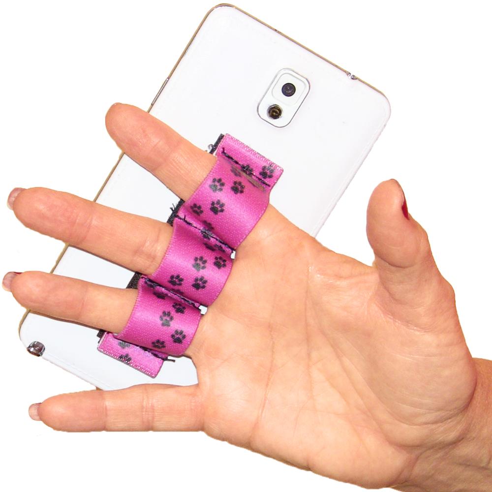 Paw Prints Pink 3-loop Phone Grip PG3