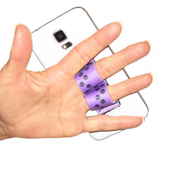 2-Loop Phone Grip PG2 Paw Prints Purple