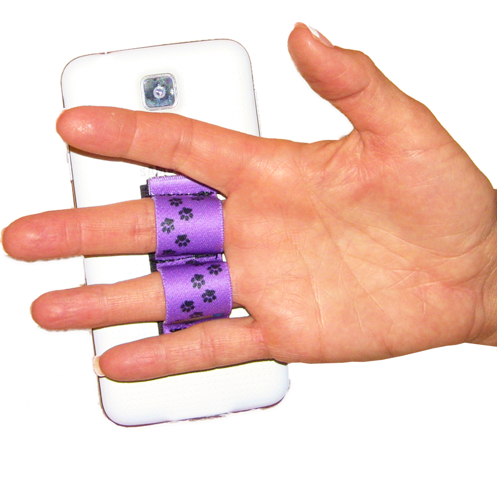 2-Loop Phone Grip PG2 Paw Prints Purple