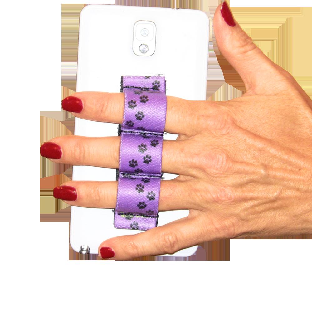 Paw Prints Purple 3-loop Phone Grip PG3