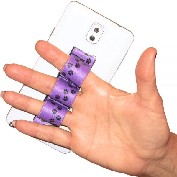 Paw Prints Purple 3-loop Phone Grip PG3