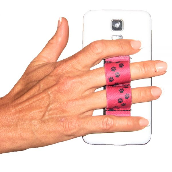 2-Loop Phone Grip PG2 Paw Prints Red