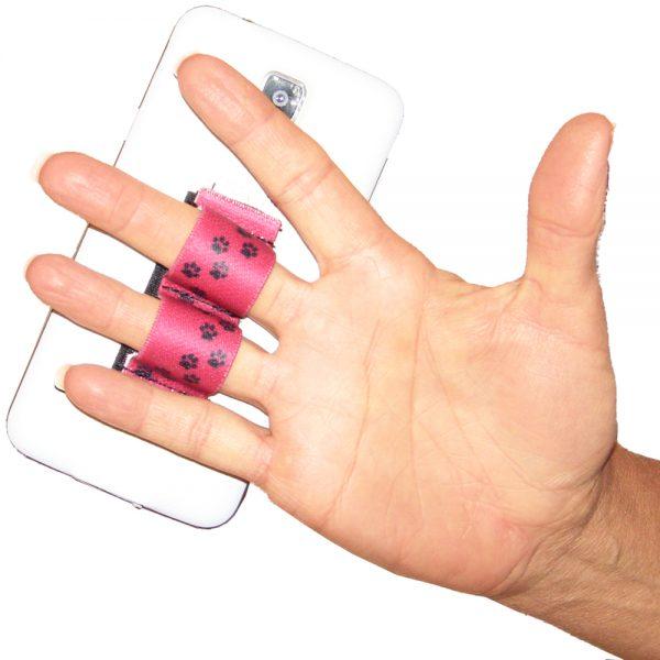 2-Loop Phone Grip PG2 Paw Prints Red