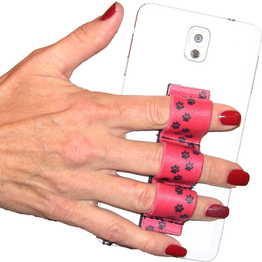 Paw Prints Red 3-loop Phone Grip PG3