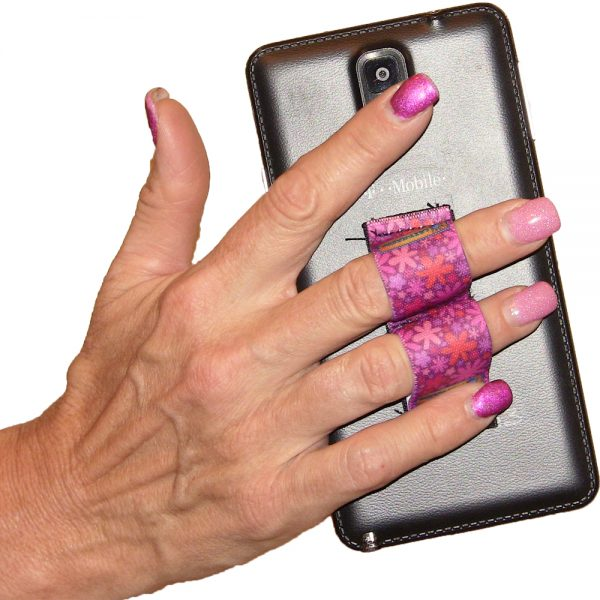 LAZY-HANDS Grips 2-Loop Phone Grip - Flowers Pink PG2